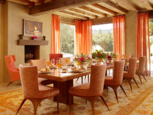 orange dining room accents