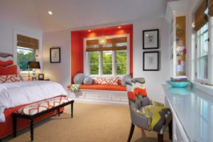 orange accents in a bay window