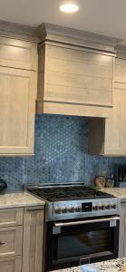 Sky blue backsplash tile